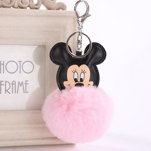 Mickey Mouse w/ Pink Pom Pom on Silver Keychain